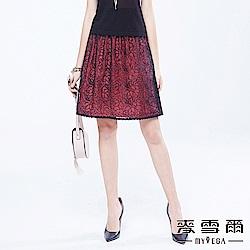 麥雪爾 蕾絲花朵雙層時尚都會裙