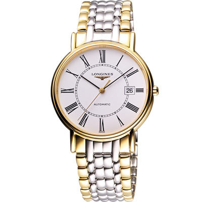 LONGINES Presence 經典羅馬機械腕錶-半金/38.5mm L49212117