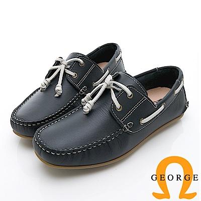 GEORGE 喬治-水洗系列 素面繩結大底休閒鞋 男鞋-藍