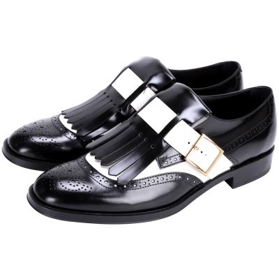 TOD'S 牛皮拼接雕花流蘇牛津鞋(黑x白)