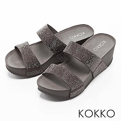 KOKKO-閃耀滿鑽寬版厚底涼拖鞋-紳士灰