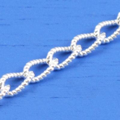 維克維娜 16吋純銀花式圈鎖鍊。義大利925純銀單鍊