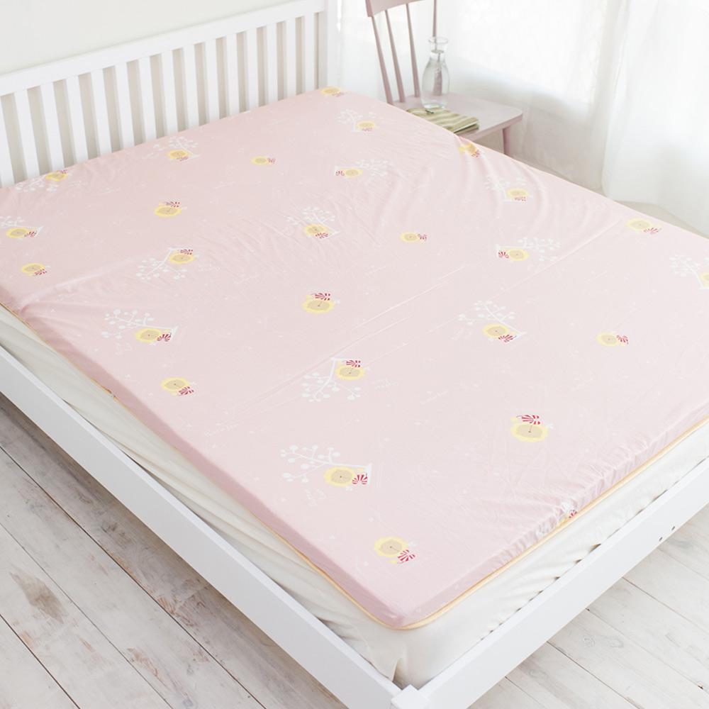 奶油獅 天然竹青純棉高磅數透氣床墊(粉紅)- 雙人5尺