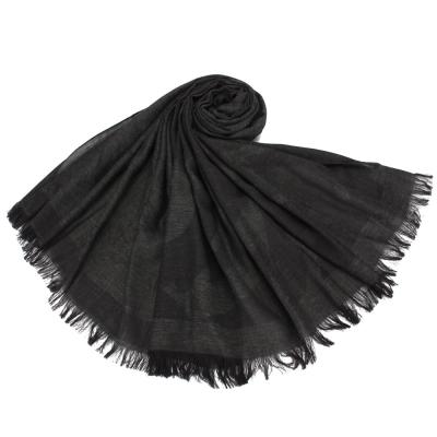 Giorgio Armani 字母LOGO混絲羊毛披肩圍巾-黑色