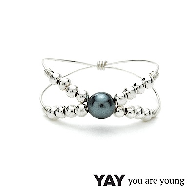 YAY You Are Young Twenties 灰珍珠戒指 雙層款 銀色