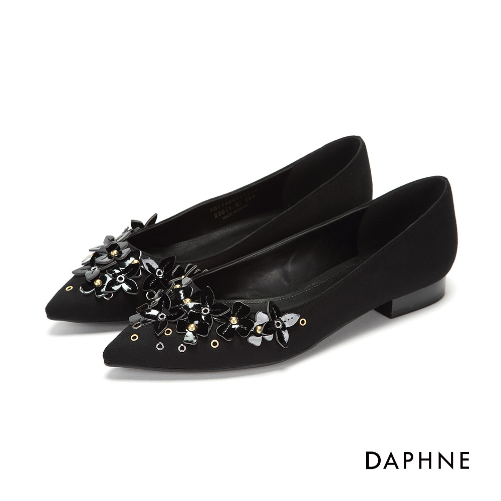 達芙妮DAPHNE 平底鞋-立體花朵鉚釘絨布尖頭平底鞋-黑