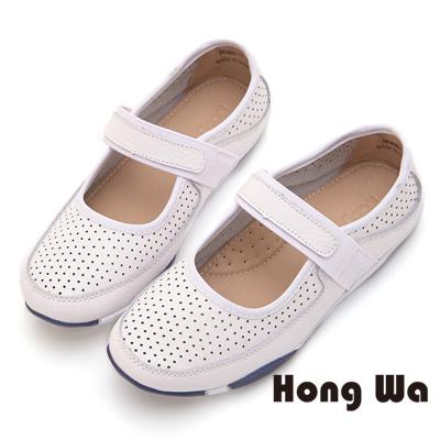 Hong Wa 韓風魔鬼貼舒適牛皮休閒鞋 - 白