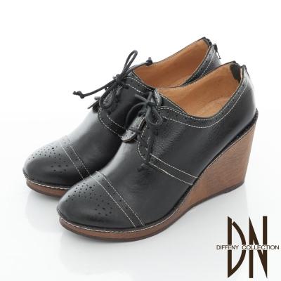 DN 個性學院 英倫質感牛皮綁帶楔型鞋 黑