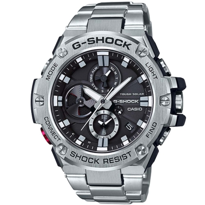 G-SHOCK創新突破分層防護雙層結構智慧藍牙錶(GST-B100D-1)銀53.8mm