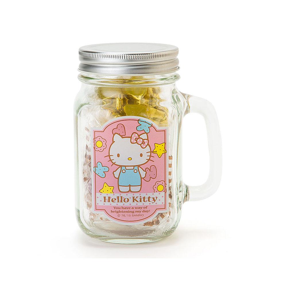 Sanrio HELLO KITTY透明玻璃馬克杯造型收納罐(繽紛餅乾)