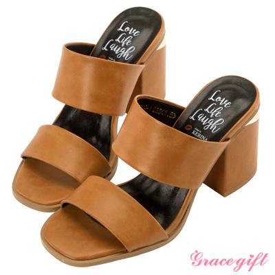 Grace gift X Kerina妞妞-雙寬帶金屬片粗跟涼鞋 棕
