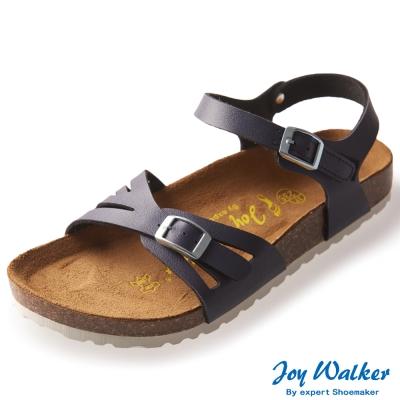 Joy Walker 繽紛色彩一片式平底涼鞋*深藍