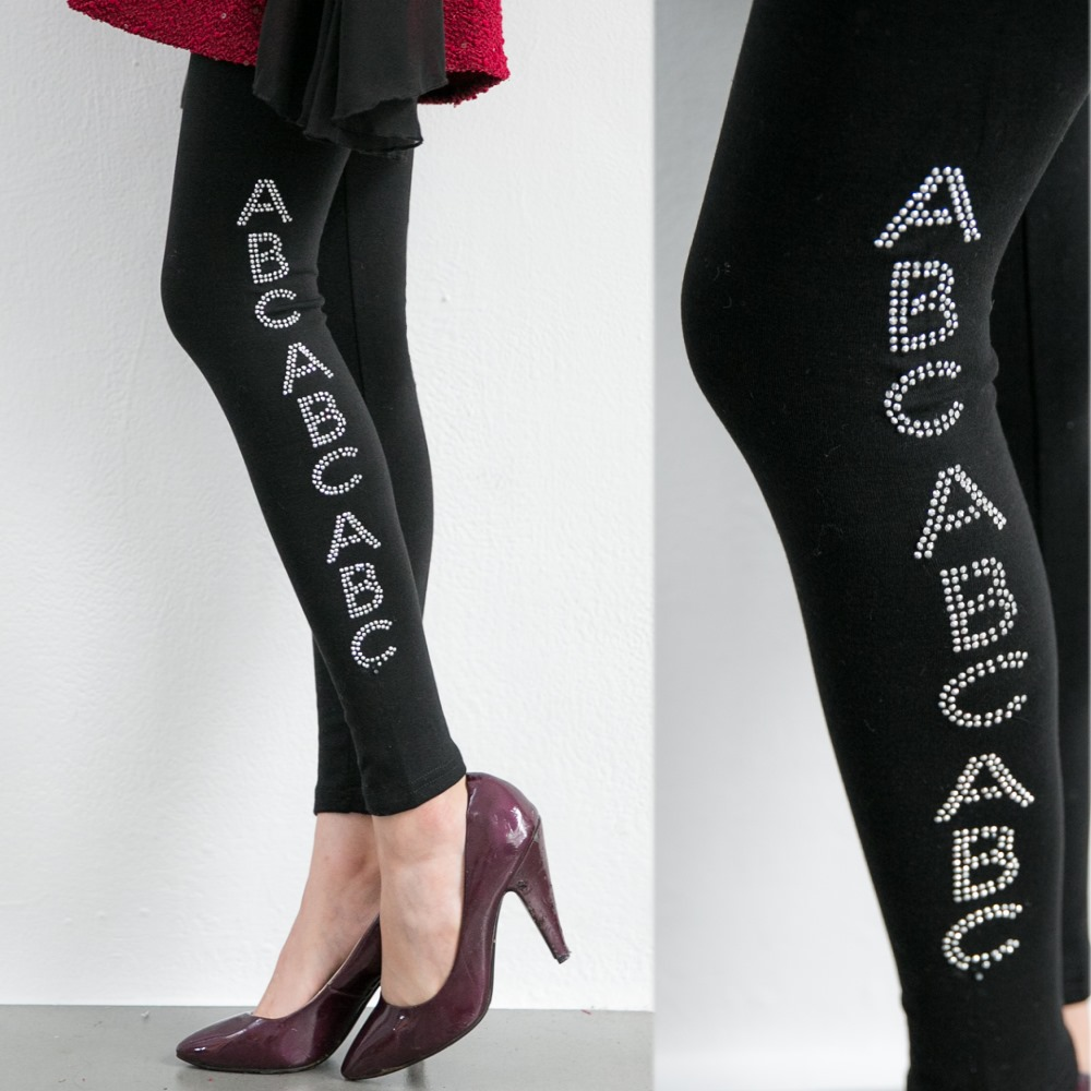 La Belleza側邊亮鑽ABC彈性厚棉內搭褲