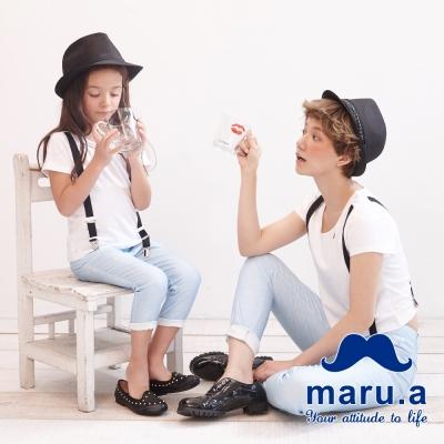 maru-a麻洛野-圓點鈕釦後腰鬆緊長褲-童裝