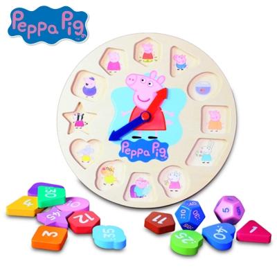 粉紅豬小妹木頭時鐘遊戲組