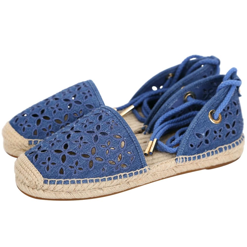 Michael Kors Darci 簍空花朵帆布綁帶草編鞋(女鞋/藍色)