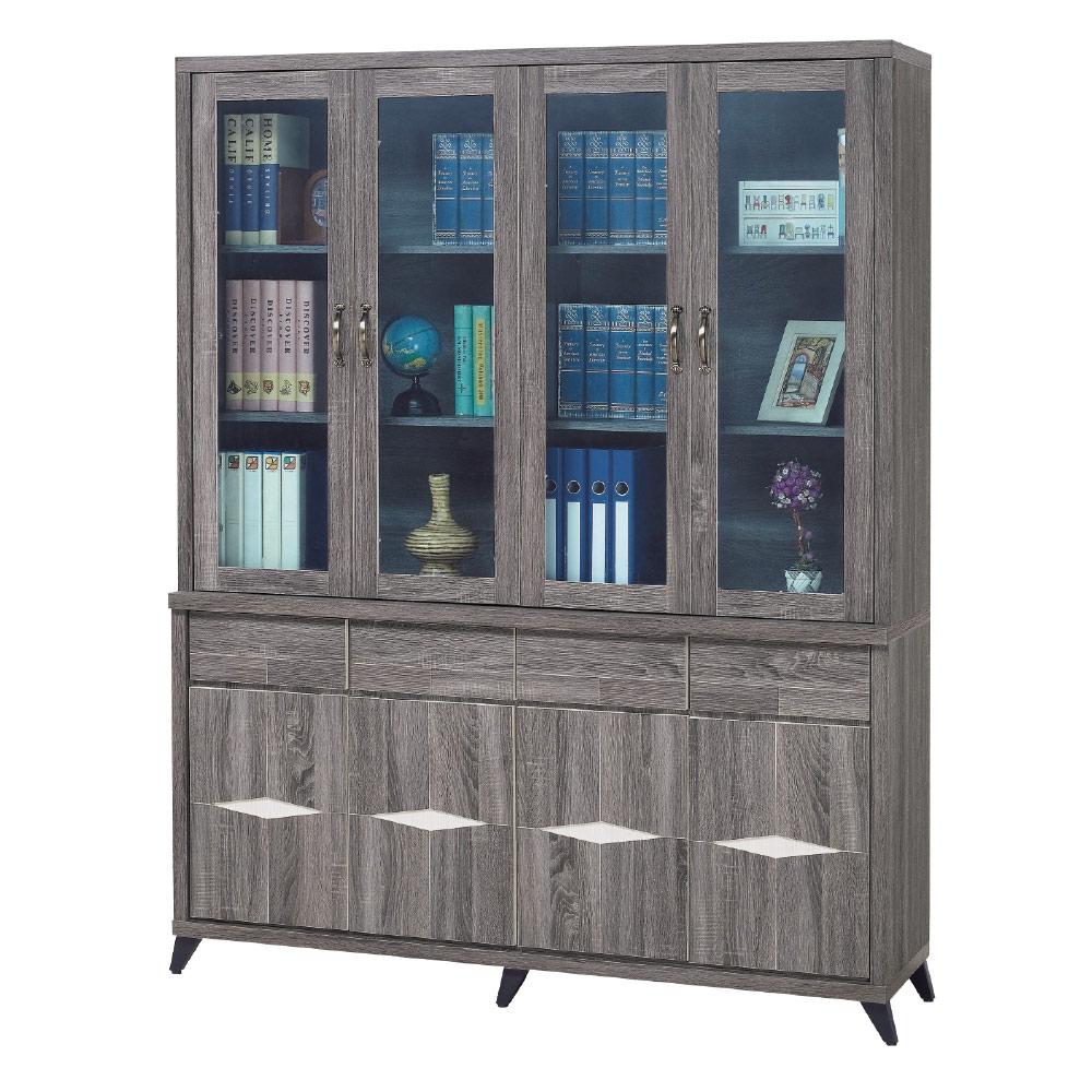 品家居 法西5.3尺工業風書櫃組合-160x41x206cm免組