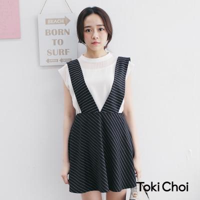 東京著衣 條紋V領吊帶裙-S.M.L(共一色)