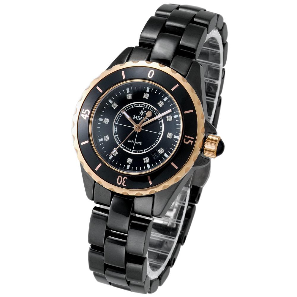 【MIRRO】金弦風雅精鑽陶瓷錶(黑/35mm)