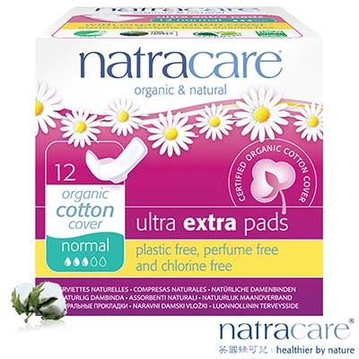 Natracare英國綠可兒有機無氯衛生棉 倍安蝶翼/一般日用 12片x6盒