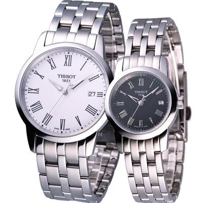 TISSOT 天梭 Classic Dream 經典時尚對錶-白+黑/38+28mm