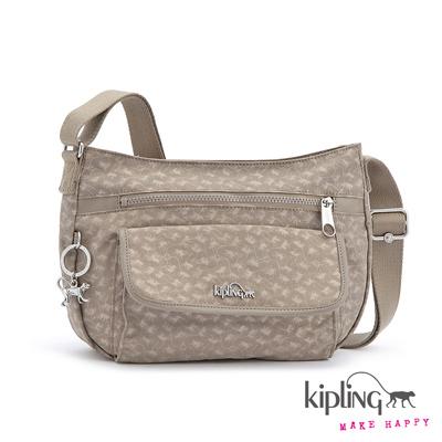 Kipling-時尚灰快樂猴紋理側背包