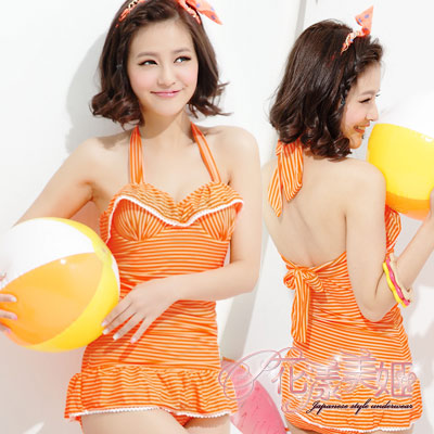 花漾美姬‧水舞婀娜*金青春條一件式鋼圈泳衣(桔)