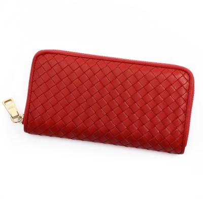 ANNA DOLLY 編織羊皮拉鍊長夾 Leather系列 澄漾紅