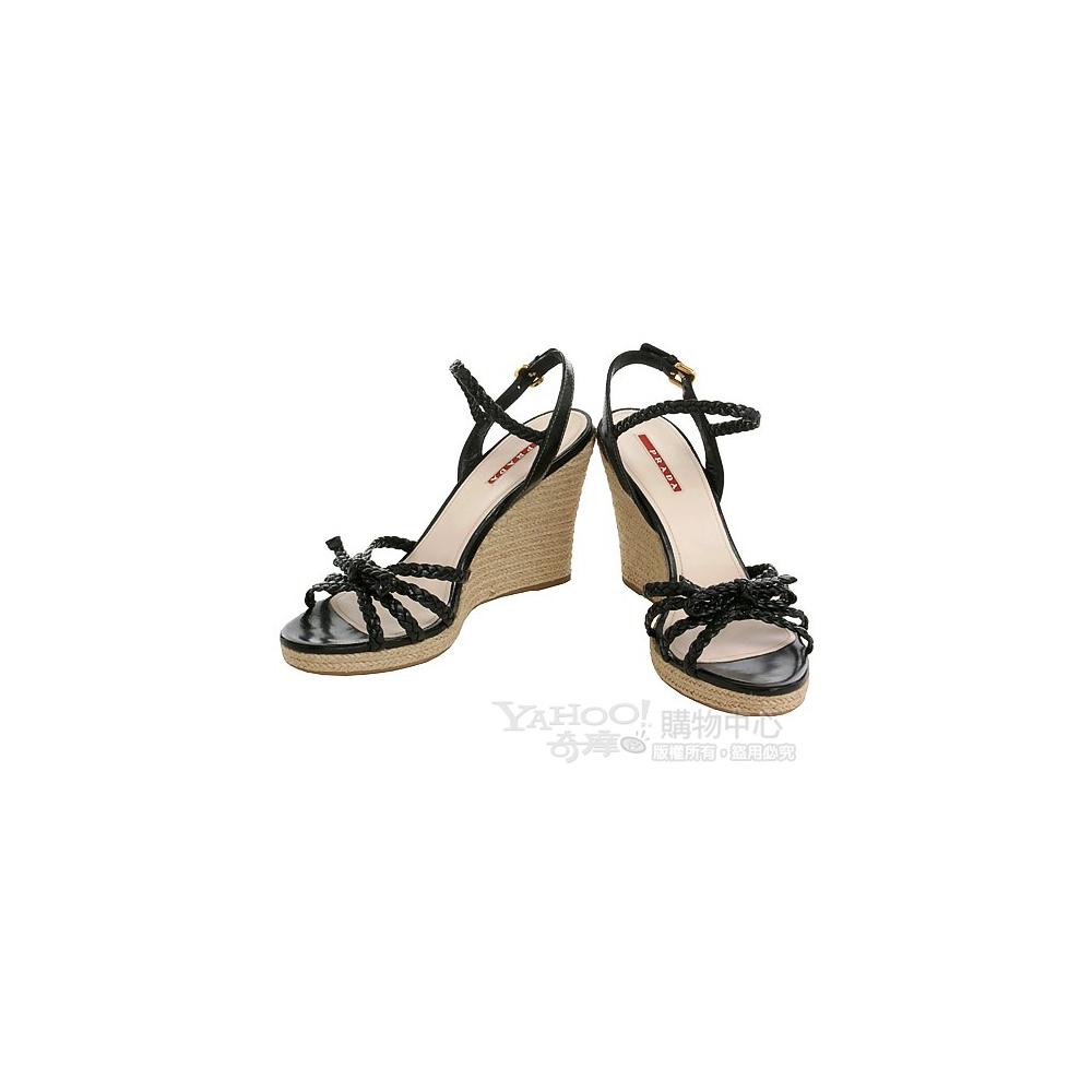 PRADA黑色小牛皮編織厚底楔型涼鞋