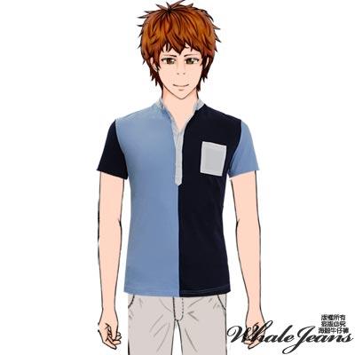 WHALE JEANS 男款立領時尚雙色百搭舒適棉質POLO衫(2色)