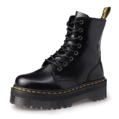 Dr.Martens JADON-8孔側拉鍊厚底亮皮馬汀靴-男款-女款-黑