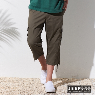JEEP 美式經典縮口設計七分褲 (灰綠色)