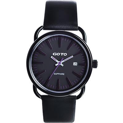GOTO 幾何極簡日期時尚腕錶-IP黑x深紫時標/38mm