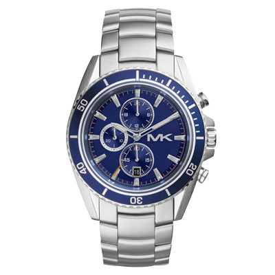 Michael Kors 超凡品味都會三眼潮流腕錶-藍X銀/45mm