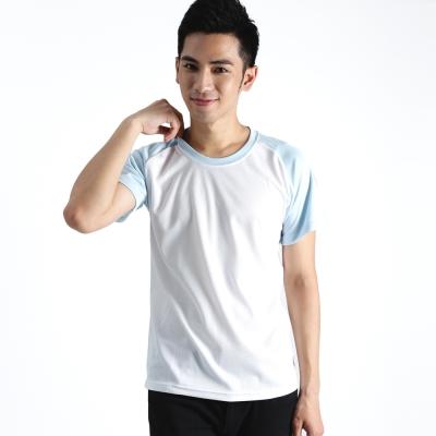【遊遍天下】 MIT中性款輕量圓領吸濕排汗機能衫S0702白/藍