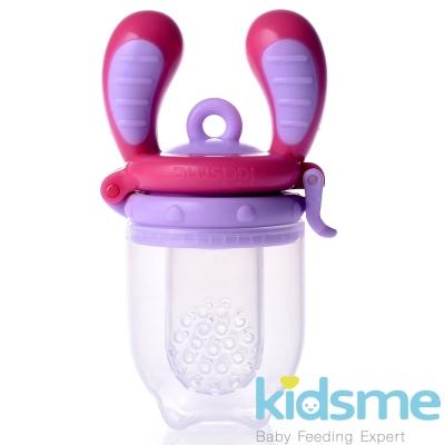 任-英國kidsme-咬咬樂輔食器-紫紅M號