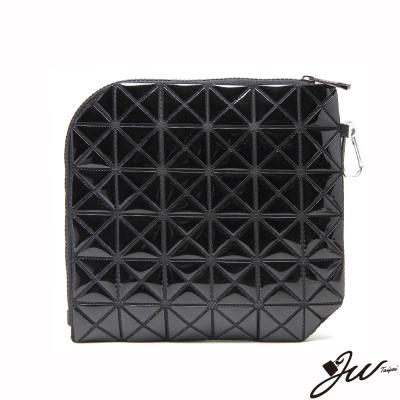 JW魔幻漆皮幾何變形隨身萬用包-共8色-魔鬼黑