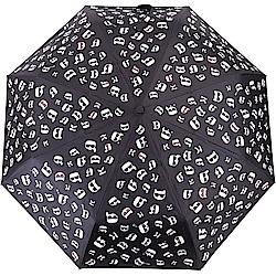 KARL LAGERFELD K/IKONIK 滿版老佛爺貓臉自動摺疊傘(黑色)