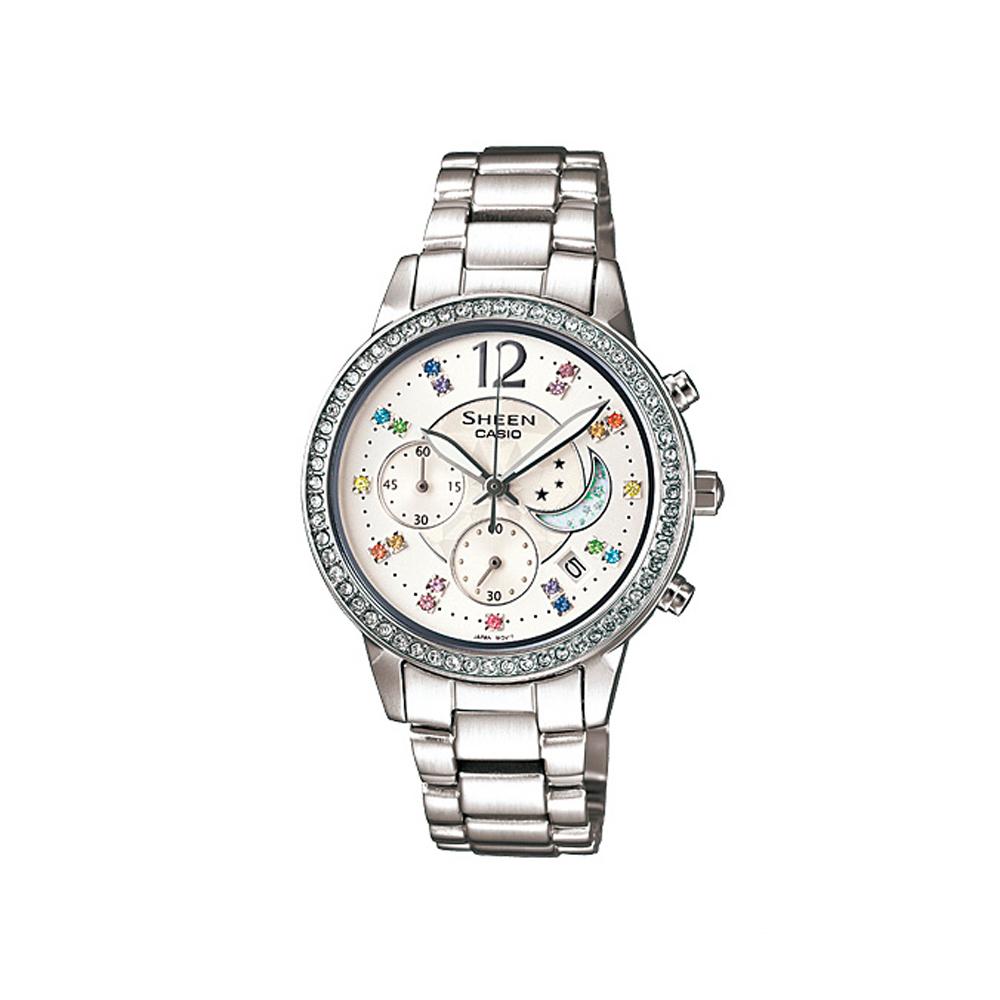 SHEEN 美麗的日月星辰時尚腕錶(SHE-5018D-7A)-白/33mm
