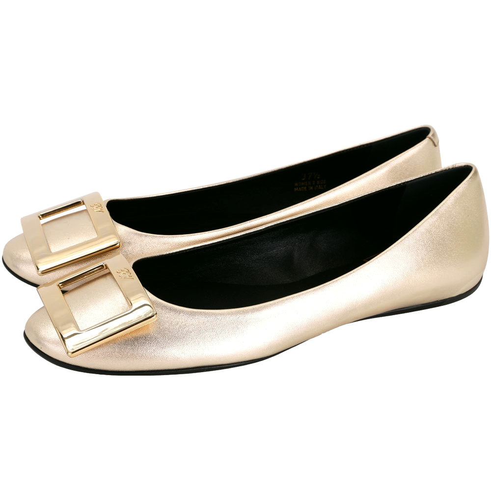 Roger Vivier Gommette 金屬色方框平底娃娃鞋(金色)