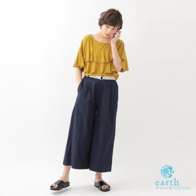 earth-music-俐落感鬆緊腰設計寬褲-附腰