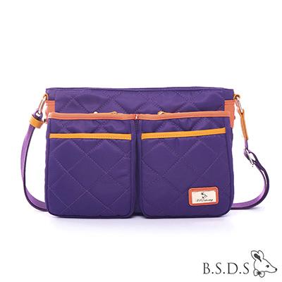 B.S.D.S冰山袋鼠-蘭姆嘉年華x簡約設計雙口袋側背包-葡萄紫