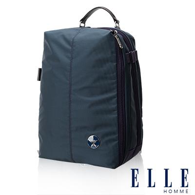ELLE HOMME 時尚巴黎風格<b>12</b>吋筆電扣層休閒後背包 輕量防潑水設計款-藍