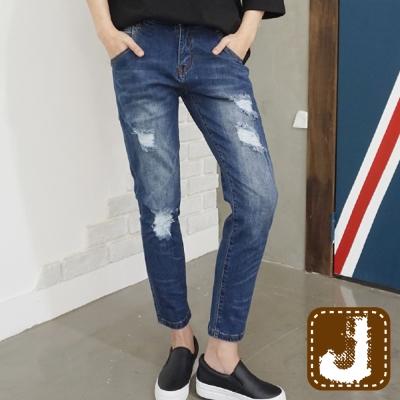 正韓-仿舊刷色抽鬚抓痕長褲-水洗藍-100-Korea-Jeans