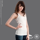 ROUSH-女生基本款螺紋素面挖背背心