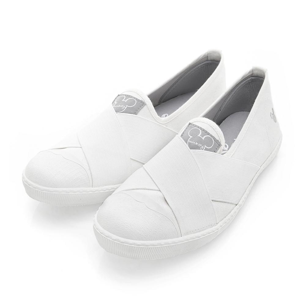 DISNEY 率性百搭 彈性交叉繃帶懶人鞋-白