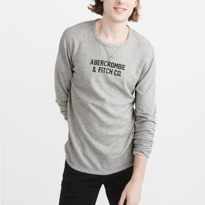 A&F 經典貼標文字特殊兩面穿設計長袖T恤-灰色 AF Abercrombie