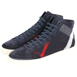 BURBERRY 格紋麂皮拼接高筒運動鞋(男鞋/深藍色)