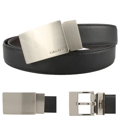 Calvin Klein 鏡面金屬雙釦雙色皮帶禮盒