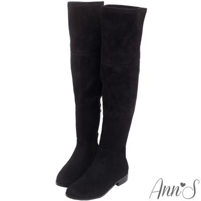 Ann'S完美比例-素面絨質平底彈力側拉鍊過膝長靴-黑